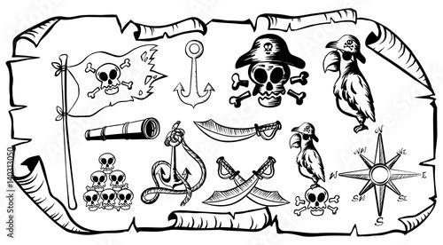 Fotografía Treasure map with pirate symbols