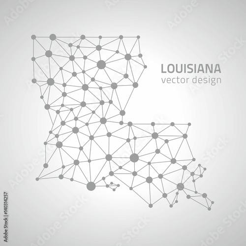 Louisiana vector graphic dot grey outline polygonal map - Buy this ...