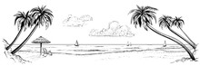 Panoramic Vector Beach View. Illustration With Palms And Parasol. Black And White Handmade Drawing.