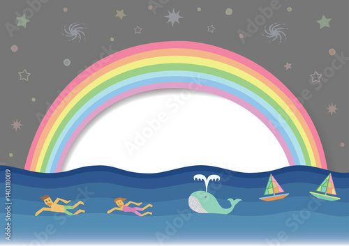 Canvas Prints River, lake Rainbow cartoon with human swimming in the sea. Colors background with sky and sun white or speech bubble. Concept environmentally friendly for earth day.