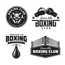Boxing Club Labels Set. Vector...
