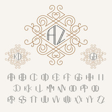 Two Letters Monogram Template ...