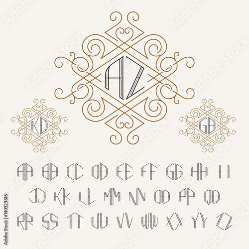 Two letters monogram template in outline style Canvas Print