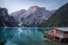 Calm Atmosphere In Idyllic Mountain Lake At Dawn