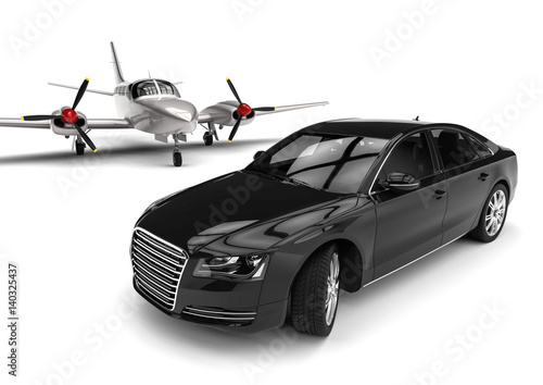 Private Plane With A Luxury Car 3d Render Image Representing An