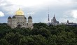Riga, a panoramic view towards the old city and the Orthodox Cathedral.