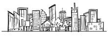 Cartoon Hand Drawing City. Vec...