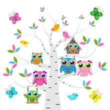 Сolorful Owls And Birds On Th...