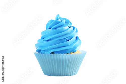 Photo  Tasty cupcake isolated on a white