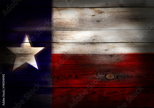 Poster Texas Flag of Texas USA painted on grungy wood plank