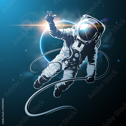 astronaut in space illustration Fototapeta