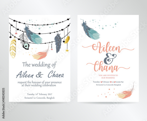 wedding pink blue template collection for banners flyers placards