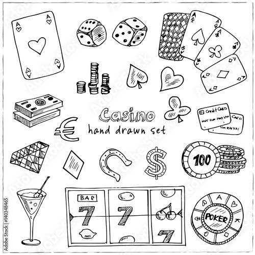 фотография  Hand drawn doodle set of Casino icons