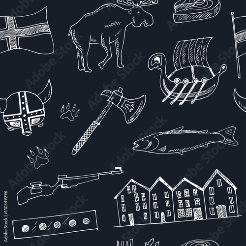 Country Norway travel vacation seamless pattern with architecture, culture doodl Poster