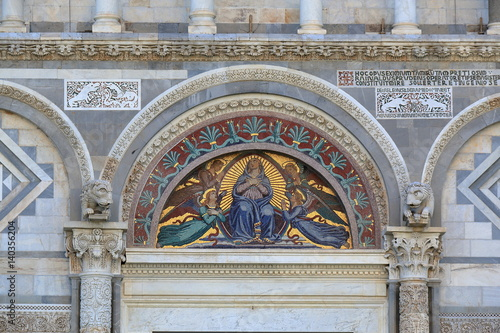 Fotografie, Obraz  Mosaic icon with Virgin Mary and Angels. Pisa Cathedral, Italy