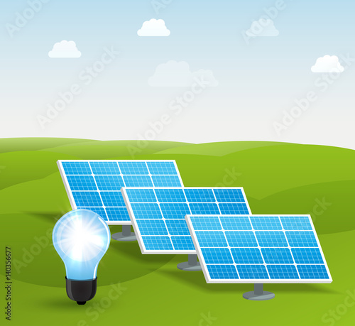 solar energy panels vector illustration - Buy this stock