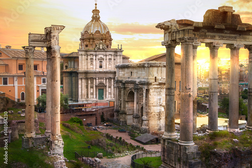 Ruins of Roman's forum at sunset, ancient government buildings started 7th century BC Fototapeta