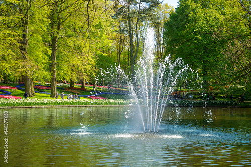 Foto Pond with a fountain in the Keukenhof park in Netherlands