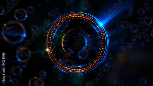 Fototapeta Abstract neon background. Shine swirling. Glowing spiral cover. .Bubbles elegant. Halo around. Power sparks data particle..Space tunnel. Glossy jellyfish. LED color ellipse. Glint glitter beam tech obraz na płótnie