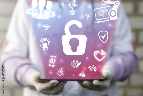Medicine insurance and security concept  Doctor offer tablet