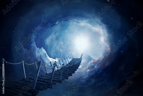 Obraz Fantasy bridge in the space. 3D rendering - fototapety do salonu