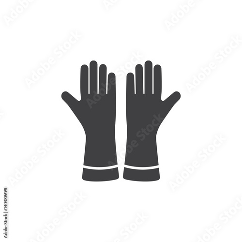 Photo  gloves icon on the white background