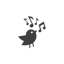 Bird With Music Note Icon On T...