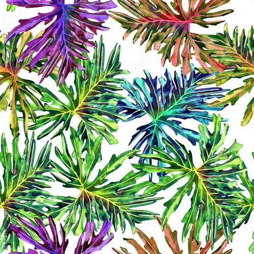 Seamless floral pattern with beautiful watercolor philodendron leaves. Colorful jungle foliage on white background. Textile design.