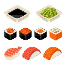 Set Sushi Roll, Wasabi And Soy...