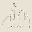 Calligraphic silhouette of New York - Vector Illustration