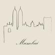 Calligraphic Skyline of Mumbai - Vector Illustration