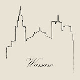 Calligraphic Skyline  of Warsaw   - Vector Illustration - 140401887