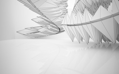 Fototapeta Abstract white interior highlights future. Polygon drawing. Architectural background. 3D illustration and rendering