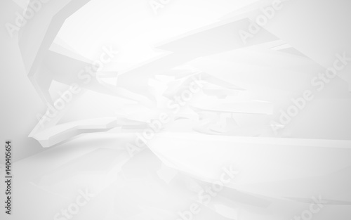 Abstract white interior of the future with neon lighting. 3d