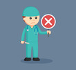 male surgeon with crosswise sign indicates fail surgery