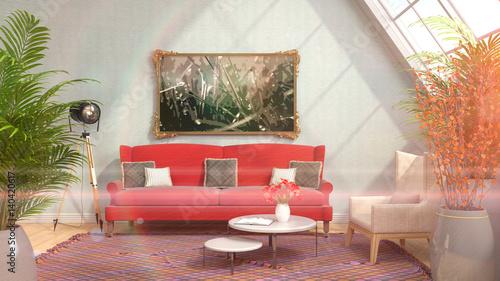 Fototapety, obrazy: interior with sofa. 3d illustration