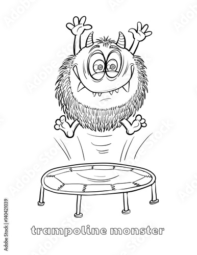 Cute And Funny Halloween Monster Coloring Page Trampoline Monster