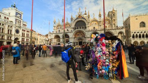 Foto op Aluminium Carnaval Venice and Saint Mark square with shop of venetian carnival mask