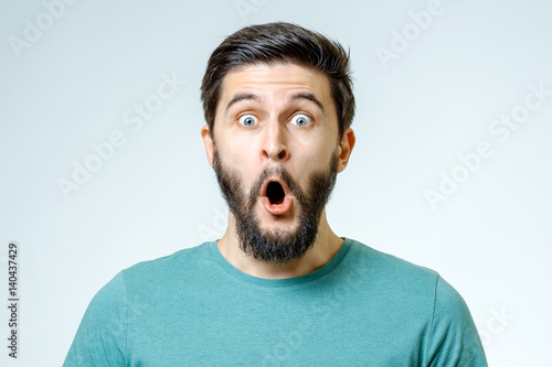 Fotografía  Man with shocked, amazed expression