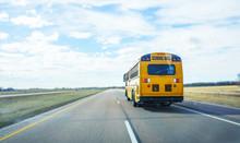 De Focus Of School Bus On The Freeway