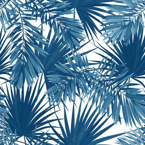 Blue indigo summer tropical camouflage with palm leaves. Seamless vector pattern. Wall mural