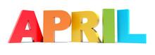 April Colored Text Calendar Ba...