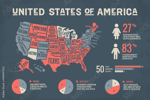 Stampa su Tela  Poster map of United States of America with state names and abstract infographics elements