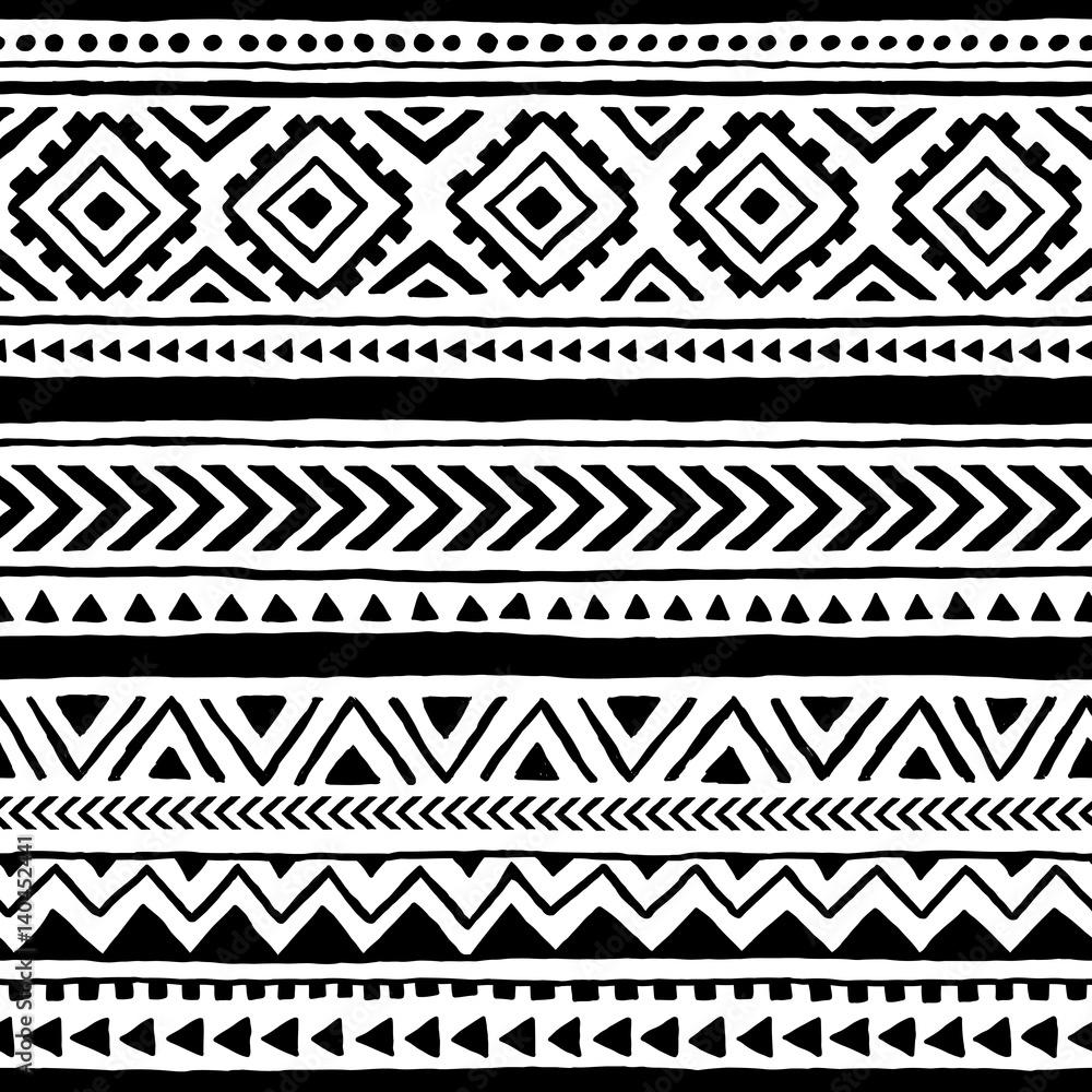 Fototapeta Seamless ethnic and tribal pattern. Handmade. Horizontal stripes. Black-and-white print for your textiles.