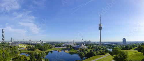Foto op Canvas Stadion View of the Olympic Stadium in Munich, Olympic Tower, BMW Tower