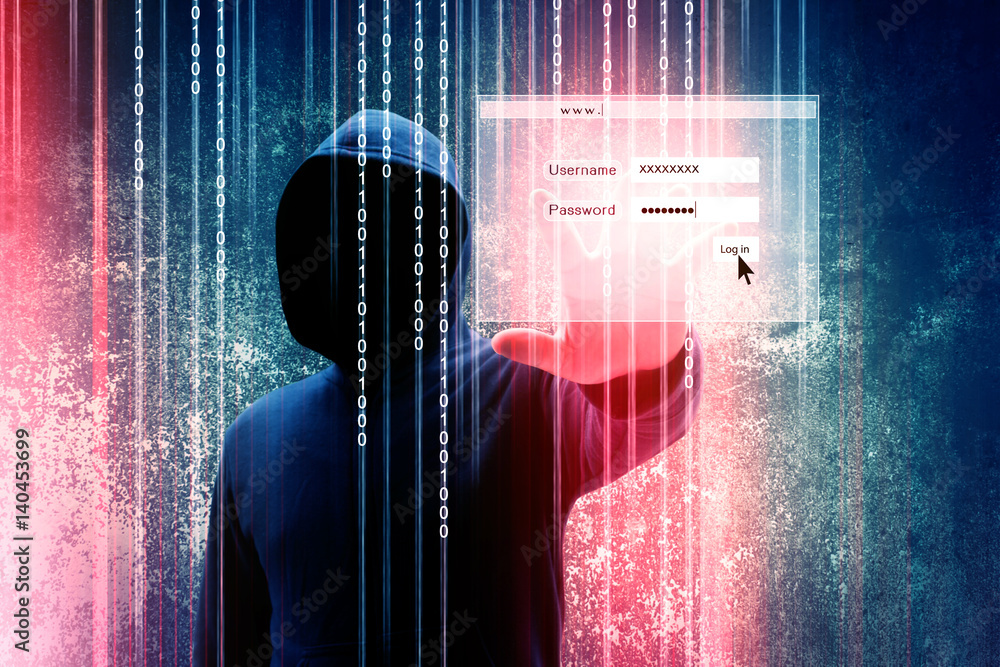 Fototapeta Computer hacker or Cyber attack concept background