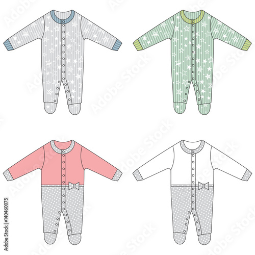 Valokuvatapetti Baby clothes, baby footie for boy and girl, vector illustration