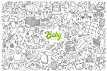 Hand Drawn Baby Shop Doodle Se...