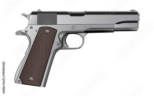 Colt M1911 pistol isolated on white vector Poster Mural XXL