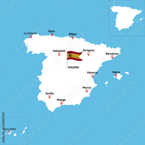 Map Of Spain With States.A Detailed Map Of Spain With Indexes Of Major Cities Of The Country